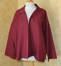 NWT Eskandar Poppy Red Silk Open Collar Boxy Elegant Jacket Sz 1