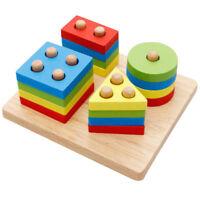 Wooden Geometric Sorting Blocks Montessori Kids Educational Toys Building Blocks