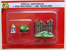 Obelix Amoureux+ rocher et palissade figurine Village d'Asterix