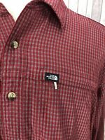 The North Face Men's Maroon-Red Check Long Sleeves Shirt Size XL