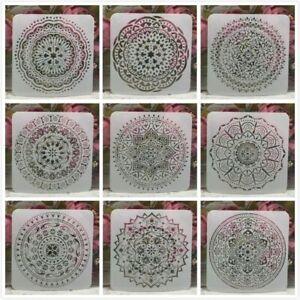 New 9Pcs/Lot DIY Mandala Layering Stencils Round Geometry Painting Scrapbooking