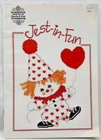 1986 Counted Cross Stitch Pattern Book Jest-In-Fun Clowns 13 Designs Craft 6961F