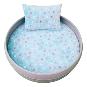 TyredPetz Grey and Spotty Blue Pet Bed