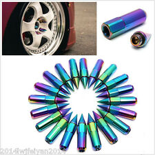20PC NEO CHROME SPIKED ALUMINUM EXTENDED TUNER 60MM M12X1.5 LUG NUTS WHEELS RIMS