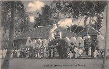 Sri Lanka Ceylon postcard Elephant Carrying Tribute to the Temple