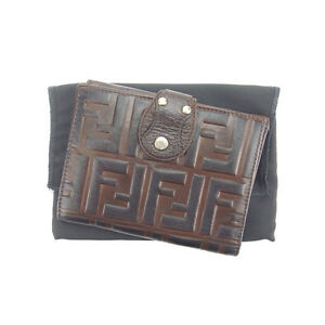Fendi Wallet Purse Bifold Zucca Brown Black Woman Authentic Used L753