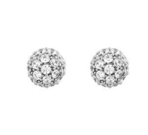 18ct White Gold GF Round Cluster CZ Cubic Zirconia 10mm Stud Earrings