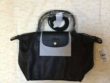 NWT Authentic Longchamp Le Pliage Cuir Small Neo Black Leather Crossbody Top Bag