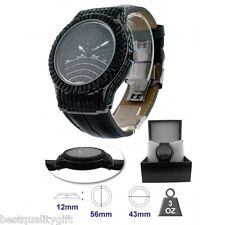 BLING MASTER BANG BLACK LEATHER AND PAVE CRYSTAL GLITZ WATCH
