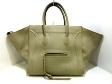 Auth CELINE Luggage Small Square Phantom GrayBeige Leather Tote Bag