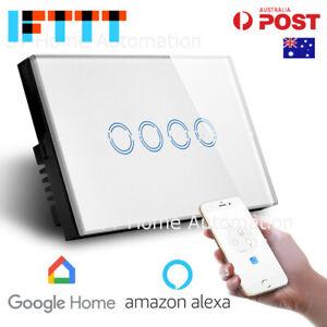 AU Approved SMART HOME Alexa & Google Home WiFi Wall Switch 4 gang SmartLife SAA