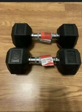 CAP RUBBER COATED HEX DUMBBELL WEIGHTS - 20 LB EACH - LOT OF 2 - TOTAL 40 LBS