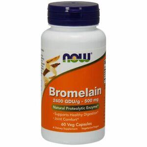 Bromelain 60 Veg Caps 2400GDU/500 mg by Now Foods