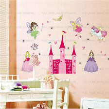 X-Large Pink Fairy Princess Castle Wall Stickers Girls Kids Bedroom Art Decal