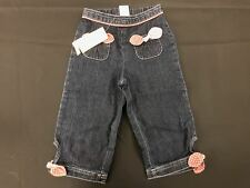 NWT Gymboree Girls Cherry Pie Elastic Denim Bow Pocket Cuff Pants Size 18-24 M