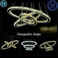 Modern Crystal LED Light Chandelier Ring Pendant Lamp Ceiling Lights Lighting