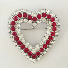 New Heart European Style Red Clear Crystals Brooch & Pendant Charm Pin BR1087