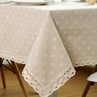 Flower Pattern Tablecloth Linen Cotton Table Cloth with Lace Dining Table Cover