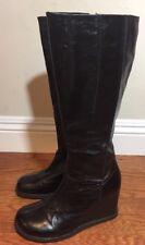 Miz Mooz Buffy Black Leather Knee High Wedge Boots Faux Fur Lining Sz 7