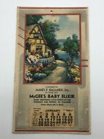 Antique 1940 Advertisement Calendar McGee's Baby Elixir James Ballard Banker MO