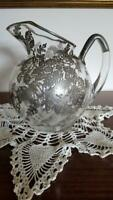 Large Vintage Floral Sterling Silver Overlay Glass Ball Pitcher
