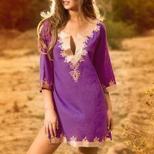 Phax Purple & Gold Short Cover-Up  Embroidered Kaftan Dress Side-Splits  RRP £70
