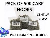 500 CARP FISHING HOOKS SIZE 6 8 OR 10 BULK WHOLESALE PRICE FISHING TACKLE