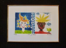 "Signed KIKI Suarez Etching ""Day and Night"" ""Dia y Noche"" 1996 500 ed.  SWEET!"
