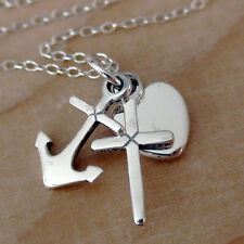 Faith Hope & Charity Necklace - 925 Sterling Silver - Heart Cross Anchor NEW