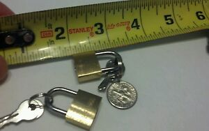 padlocks 2 small solid brass locks with 4 keys