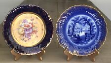 Set of 2 Cobalt Blue Gold Plates Victoria Carlsbad Austria and Scenic Flow Blue