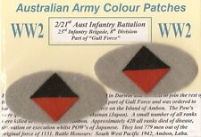 2ND AIF WW2 AUSSIE ARMY COLOUR PATCHES INFANTRY UNITS