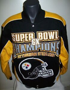 PITTSBURGH STEELERS Ultimate 6 Time SUPER BOWL CHAMP Cotton Jacket SMALL MEDIUM