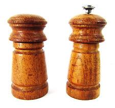 "Vintage Wood Salt and Pepper Shaker Mill Grinder Mid Century 5"" TWM"