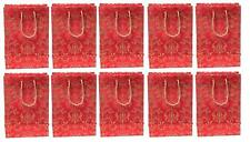 Handmade Gift Paper Carry Bags Red and Golden Bag Set of 10