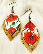 Natural Cork Gold Flake / Red Poppy Faux Leather Earrings Double Layer