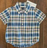 NWT Janie And Jack Boys Collard Plaid Short Sleeve Shirt Size 12-18 Months