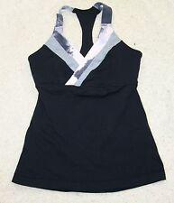 Lululemon tank top bra 6 wrap front T back black pink gray