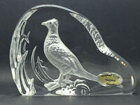 Wedgwood Clear Glass Pheasant Flat Bird Paperweight Signed under
