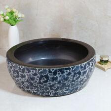 Bathroom Round Pattern Vessel Sink Tempered Ceramic Basin Bowl & Antique Drain