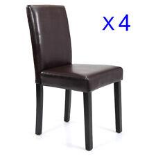 Dining Room Chairs Kitchen Formal Elegant Leather Design 4 Set Brown
