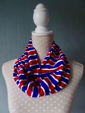 Red white blue snood/cowl, striped loop scarf, unisex neckwarmer, jersey snood