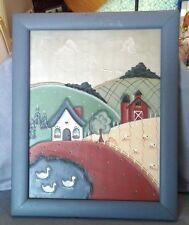 Primitive Tin Punch Folk Art Original Country,Barn,Ducks,Metal Wood Frame Blue
