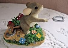 "Fitz Floyd Charming Tails ""Give Luck A Shot"" Horseshoes Mouse Figurine 83/106"