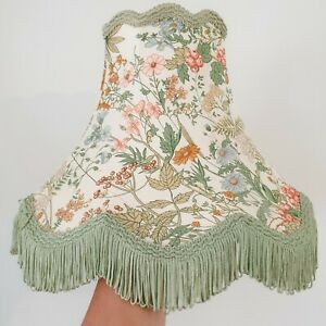 Vintage Fringed Floral & Green Trim Scalloped Oval Light / Lampshade - 24cm Tall