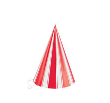 8 Classic Circus Carnival Striped Red White Cone Hats Birthday Party Supplies