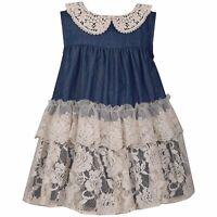 Bonnie Jean Chambray Lace Float Dress 0-3 months - 4T