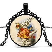 White RABBIT Original ALICE in WONDERLAND Art PENDANT Cabuchon NECKLACE Black