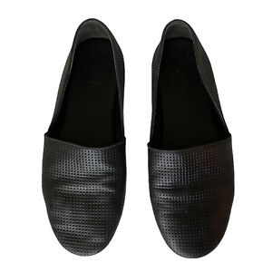 Vince. Leather Slip On Flats Shoes Black Perforated  Size US 7 Womens