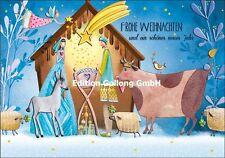 """Mila Marquis""""Krippenszene""""Maria*Josef*Stern*Engel*Grußkarte*Weihnachten*Text"""